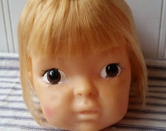 Vintage Terri Lee doll head hard vinyl plastic blonde doll head for projects or Halloween decor or upcycling doll parts E22