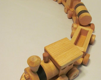 Wooden Train set (6 car)  Handmade toy Large oak and walnut Heirloom Quality  Beautifully hand finished.