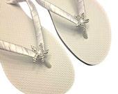 Starfish Bridal Flip Flops - Wedding Flip Flops - Starfish Bridal Sandals - Beach Wedding - Beach Bridal Sandals - Rhinestone Flip Flops