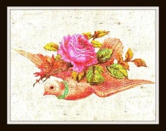 Bird Art Print, Vintage Valentine - Bird with Rose faux Canvas texture Valentine Art Print , 8 x 10