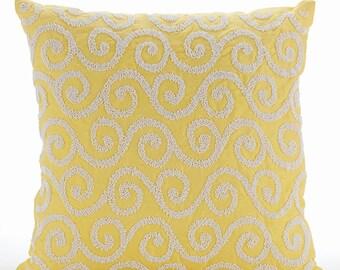 "Handmade Yellow Decorative Pillow Cover, 16""x16"" Silk Pillows Cover, Square  Beaded Scroll Pillows Cover - Yellow Flavor"