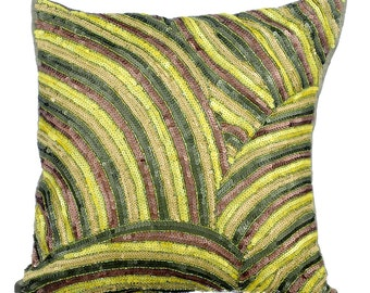 Green Decorative Throw Pillow Covers Accent Pillow Couch Pillow 16x16 Inches Green Silk Pillow Cover Sequin Embroidered Secret Forest