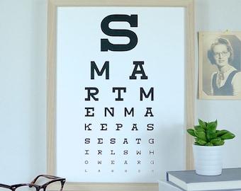 Smart Men Make Passes At Girls Who Wear Glasses Geek Art Typography Print Screenprint Valentines