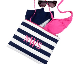 Navy Prep Stripe Zip Pouch~ Monogrammed Cosmetic Bag~Custom Travel Pouch~Personalized MakeUp Bag~ Accessory Bag