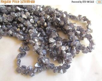 Summer Sale Molten  Reflective Mystic Tanzanite Raw Top Drill Briolette Beads 1/2Strand