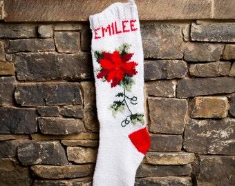 Poinsettia Stocking, Christmas Stocking, Christmas Stocking Patterns, Christmas Stocking Design, Family Stockings, Christmas Knitting