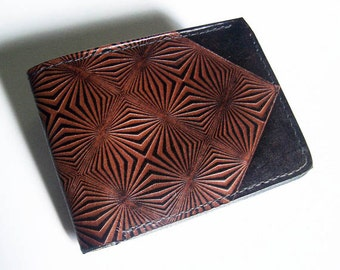 Leather Wallet - Thin Bi-fold with Prism Design - Men's Leather Wallet