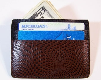 Leather Card Case/Thin Wallet  - Use for Credit Cards, Drivers License etc. - Kaleidoscope Design