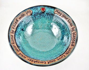 Pottery Wedding Gift - 9th Anniversary, Commitment Ceremony, serving bowl - IN STOCK 28 WB