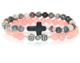 Faith Bracelet Set, Gemstone Beads, Stretch Beaded Bracelets