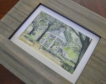 Whitefield Square Wedding Gazebo Mini Savannah Watercolor Print