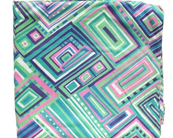 Mod Vintage Geometric Print Cotton Fabric in Aqua, Mint, Pink and Purple / Vintage Cotton Fabric / Measures 1-7/8 Yards