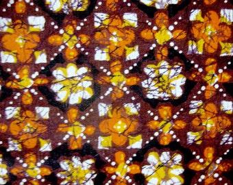 Vintage Tiki Fabric Tie Dye Print - Tahiti Print - Polynesian Print in Brown, Orange and Black