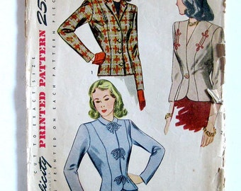 Vintage Sewing Pattern 1940s Fitted Jackets Simplicity 4494 Three-quarter Sleeves / Size 16 Bust 34