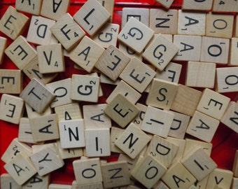 Scrabble tiles wood letters 100 vintage mixed random wooden lot not a game set