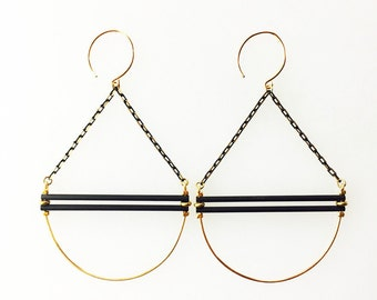 Black and Gold Swing Earrings