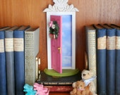 Pink Fairy Door or Tooth Fairy Door, Closer to Heaven, opens outward , with architectural detail and handmade wreath