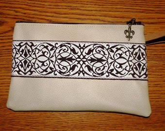 LEATHER Wristlet Bag/Purse Insert w/EmbroideredTrim