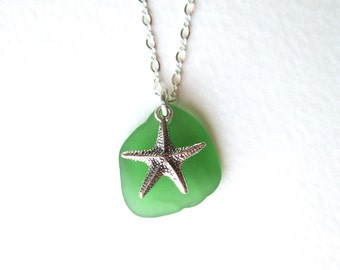 Kelly Green Sea Glass Necklace with Sterling Silver Sea Star Charm