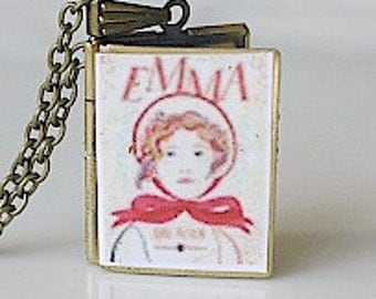 Emma, Jane Austin, English Lit, Comedy of Manners, Book to Film, 19th Century Lit, Classic Lit, HIgh School English, Book Locket Necklace