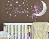 Fairy Wall Decal, Fairy Wall Sticker for Nursery, Fairy Stars and Moon Wall Decal, Fairy Personalized Name Wall Decor Baby Girls Room