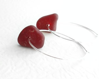 Rare Red Sea Glass Earrings: Genuine Beach Glass Jewelry, Big Sterling Silver Hoops
