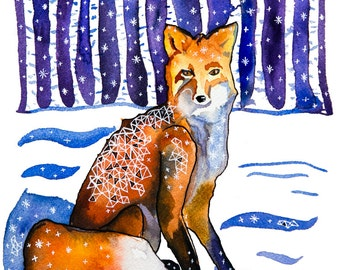 Fox in the Woods: Watercolor and ink archival art print- animal illustration- giclee print