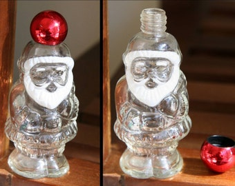 KRIS KRINGLE: Vintage Santa Claus Avon 1978 Topaz Perfume Bottle, Crystal Clear Glass, Opulescent Red Screw Cap, Small Jolly Holiday Decor