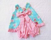 REVERSIBLE Ruffled Swing Back Pinafore Top Bloomers Set baby or toddler - 3 mos to size 6 - Blue Pink Strawberry Roses Red Riding Hood