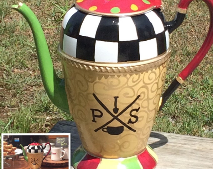 Painted Tea Pot // Custom Painted Silver Tea Pot // Silver Tea Pot