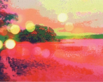 Digital print on canvas- Fiery Hudson River by Gretchen Kelly