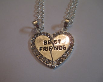 Best Friend Crystal Heart Necklaces Womens Jewelry