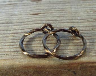 Hoop Earrings Vintage Bronze Twist - Cartilage Earrings, Daith Earring, Helix Earring, Bohemian Earrings, Minimal Hoops, Delicate Hoops