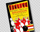 Bowling Birthday Party Invitations Invite You Print Personalized Boy Customized 5x7 or 4x6