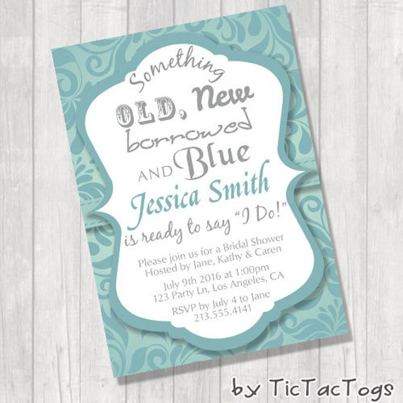 Something Old New Borrowed And Blue Bridal Shower Invitations