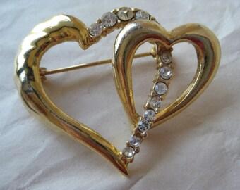 Heart Rhinestone Gold Brooch Clear Vintage Pin