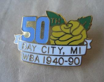 WBA 50th Rose Yellow Pin Brooch Vintage Gold Enamel Blue White Bay City, Michigan 1940-1990
