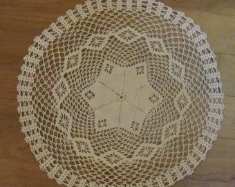 """Vintage/Antique Larger Doily, Star in Center, Table Topper 23"""" Round"""