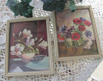 Cottage Chic  Bendiene Floral Prints in White Picture Frames
