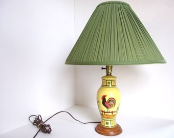 Vintage Yellow Ginger Jar Rooster Table Lamp, Mid Century Lighting
