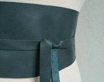 Handmade Jade Green Italian Real Leather Obi Belt - Made to Order