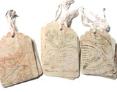 31 Gift Tags,  Party Favor Tags, Vintage Look Distressed Pink Tan Green, handmade Hang Tags