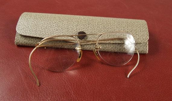 10k Gold Eyeglass Frames : Vintage Eyeglasses in 10K Gold Filled Frames with Case bjs