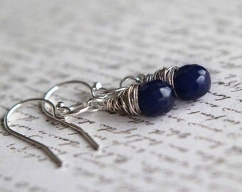 Sapphire Drop Earrings  Blue Faceted Gemstone Tear Drop Dangles  Sterling Silver  May Birthstone  Gift Box