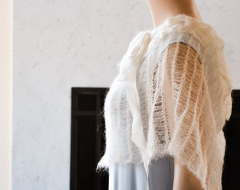 Lovely Wedding Capelet in Ivory cream White Kid Mohair and Silk Ribbon