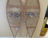 Reduced...LL Bean Maine wood snowshoes  with leather boot straps- sizable, trail design, great condition, functional or great home decor