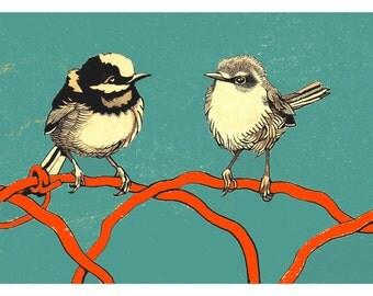 BIRD COUPLE 10x14 (Giclée Print of Original Ink + Gouache Painting)