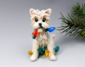 Cairn Terrier Wheaten Christmas Ornament Figurine Lights Porcelain