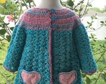 Heart Sweater, Baby Cardigan, Pink Sweaters, Girls Turquoise Sweater, Girls Sweater, Girls Jacket, Handmade Toddler Sweater,