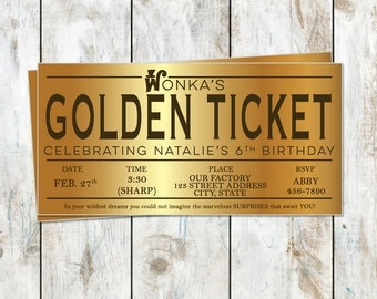 Willy Wonka Birthday Golden Ticket Birthday Invitation - Golden Birthday - Willy Wonka Birthday Party - Golden Ticket Foil Invitation